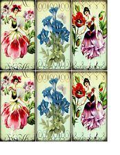 6 LARGE FAIRIES FLORAL HANG / GIFT TAGS FOR SCRAPBOOK PAGES (22)