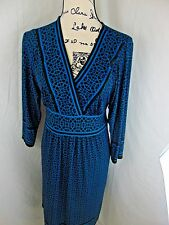 Jodi Kristopher Secretary Dress Black Teal Geometric Print Modest CAREER  LARGE