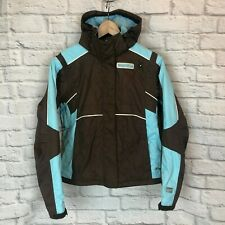 Spyder Womens Size 6 Brown Blue Hooded Ski Snowboard Winter Coat Jacket 1g8