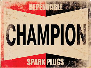 Champion Spark Plug Retro Metal Aluminium Garage Car Workshop Tool Vintage SIGN