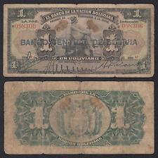 Bolivia - 1 Boliviano  15-5-1911  Pick 112 (2-1)  BC+ = F+