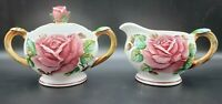 LEFTON ROSE CREAMER & SUGAR BOWL PINK ROSES Pattern 953 Japan Original Sticker
