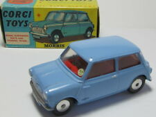 CORGI 226 MORRIS MINI-MINOR RARE BLUE -BOXED w CORGI CLUB FLYER w SUPERDETAILING