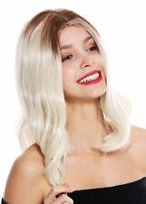 Perruque pour Femme Femme mi-Longs Raie au Milieu Lisse Ombre Braun Blond