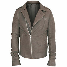 RICK OWENS $2,600 leather jacket distressed Dust Grey lambskin biker coat 50 NEW