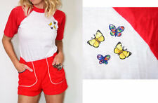 Vintage 70s DEADSTOCK Butterfly Patch RINGER Thin Tee T- Shirt SMALL