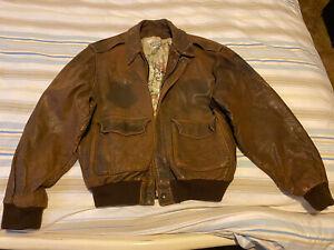 Atelier 15 Genuine Bomber Flight Leather Jacket Vintage Size Large - XLarge