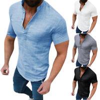 Herren Poloshirt Sommerbluse Leinen-Look Kurzarmshirt Freizeithemden T-shirt 3XL