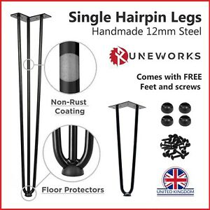 """Hairpin Table Legs 10mm 12mm Steel 8"""" 12"""" 16"""" 28"""" 32"""" Furniture Table Desk Bench"""