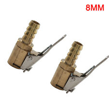 2pcs 8mm Brass Car Tyre Inflator Valve Connector Air Chuck Tire Clip Lock-on