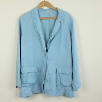 Eileen Fisher Irish Linen Jacket Single Button Blazer Blue Lightweight Large L
