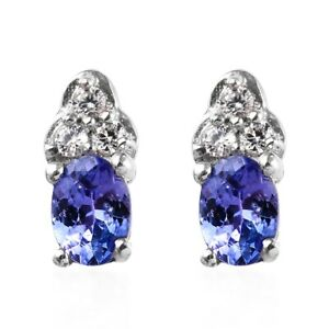 AAA Premium Tanzanite, Zircon Stud Earrings in Platinum Over Sterling Silver