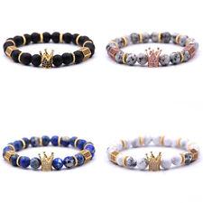 Punk Charm Stone King Crown Bracelet Men Women Matte Stone Bead Bracelets Gift