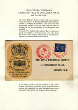 1940 LONDON CENTENARY EXHIBITION COVER TO THE ROYAL PHILATELIC SOCIETY ON PAGE