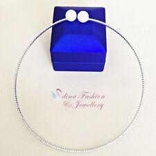 18K White Gold Plated Stylish Sparkling Diamond Studded Pearl Choker Necklace