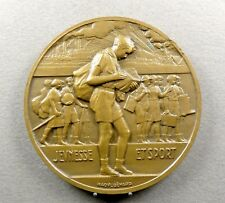 French, Large Medal. Scout, Boy and Girls. Art Nouveau. By Raoul Benard.