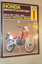 HONDA MBX125 MTX125 MTX200 F RW HAYNES OWNERS WORKSHOP MANUAL 1983-1993
