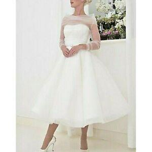 Beautiful A-Line Wedding Dress Bateau Neck Tea Length Tulle Vintage size 8 NWT