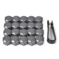 Gray 20pcs Wheel Lug Nut Center Cover Caps + Removal Tool for VW Audi Skoda Seat