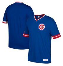 Mitchell & Ness Chicago Cubs Royal Blue Overtime Win Vintage V-Neck T Shirt MLB