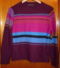 Alpaca 111 Multi-Colored Striped Lng Slv Alpaca Sweater Womens Sz L Made in Peru