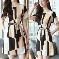 AU Women Fashion Summer O-Neck Knee Length Short Sleeve Bandage Printing Dress
