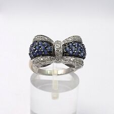 New 14k Gold 1.55ctw Sapphire Diamond Pave' Set Bow Ring Sz 6.5