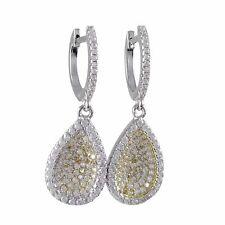 Cz Teardrop Womens Dangle Earrings Sterling Silver Two Tone White