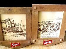 Storz Wood Beer Signs - Set of 2 - Cowboy & Steam Boat - Vintage