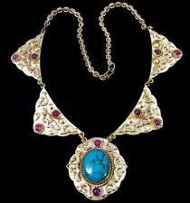 Vintage Turquoise Ruby Victorian Ornate Necklace