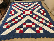 Handmade Afghan / Throw Blanket - Designer Collection - Ivory & Red Blocks