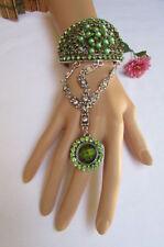 New Women Bracelet Silver Metal Cuff Big Flower Slave Ring Green Rhinestones