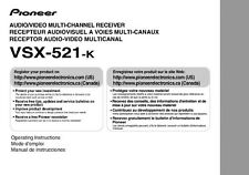 Pioneer VSX-521-k Receiver Owners Manual