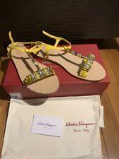 Salvatore Ferragamo Gelso Embellished Leather T-Strap Sandal size 9