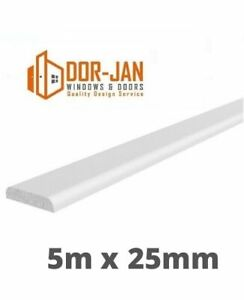 5m x 25mm x 6mm White UPVC D-Mould Windows Finishing Trims Plastic Trade Price