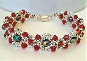 Handmade Red Silver Lace Magnetic Bracelet