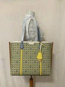 NWT Tory Burch Northern Blue Basket Weave Perry Triple Compartment Tote $368