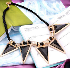 Lady Women Black Triangle Crystal Gold Statement Chunky Necklace Chain For Women