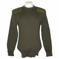 LL Bean Commando Sweater Mens XL Wool OD Green Military Elbow Shoulder Patch