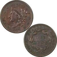 1837 Plain Cord Medium Letters Coronet Head Large Cent XF Details Copper 1c