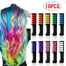 10x Temporary Dye Colour Hair Chalk Soft Pastel Cream Comb Salon Hair Brush Set