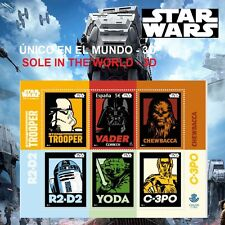 STAR WARS 3D STAMPS SPAIN SELLO FILATÉLICO CORREOS GUERRA GALAXIAS REGALO POSTAL