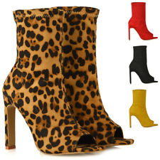 Womens Sock Fit Ankle Boots Ladies High Heel Faux Suede Peep Toe Party Shoes
