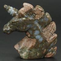 "Unicorn Head 2""Texas Llanite Blue Opal Carved Reiki Healing Statue Home Ornament"