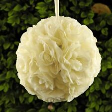 "7.5"" Silk Rose Pomander Flower Kissing Ball Wedding Party Home Decoration -Ivory"
