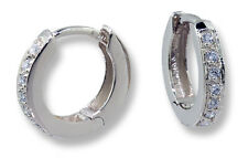 Diamond Huggie Hinged Hoop Earrings 14k White Gold .14 ctw.