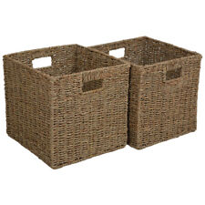 SET OF 2 SQUARE SEAGRASS STORAGE BASKETS / SHELF STORAGE