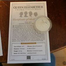 More details for silver jubilee sterling silver crown queen elizabeth ii coin and coa