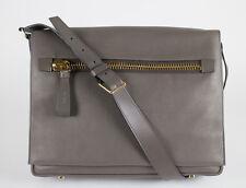 NWT TOM FORD Medium Slate Gray Leather Messenger Shoulder Bag With Strap $2695