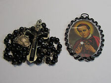 † BLESSED POCKET SEALED JOHN NEUMANN SEALED RELIC BADGE GIFT & BLACK ROSARY†